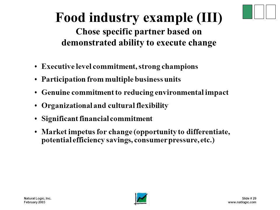 Food industry example (III)