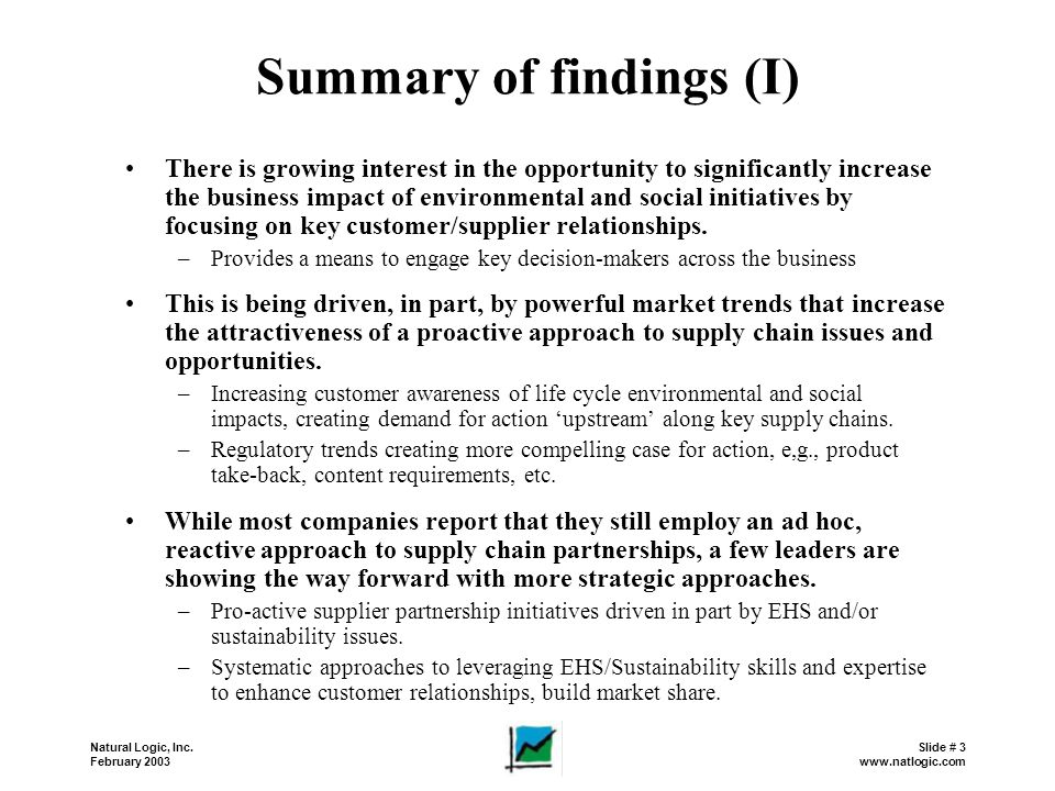 Summary of findings (I)