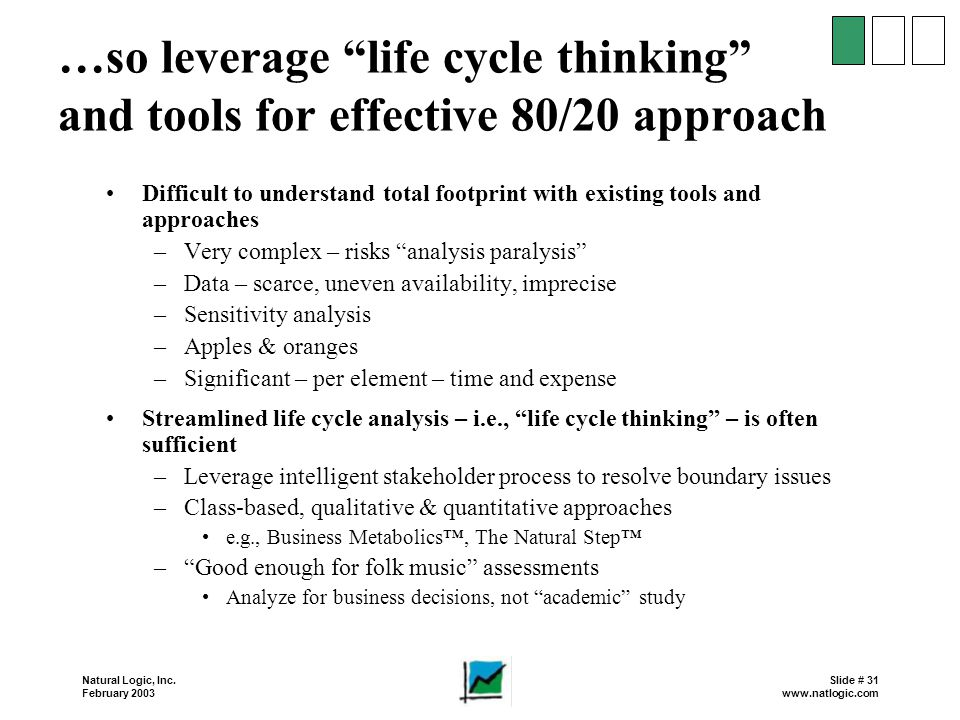 …so leverage life cycle thinking and tools for effective 80/20 approach