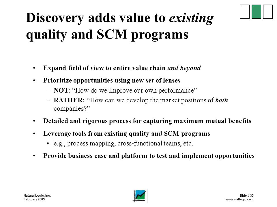 Discovery adds value to existing quality and SCM programs
