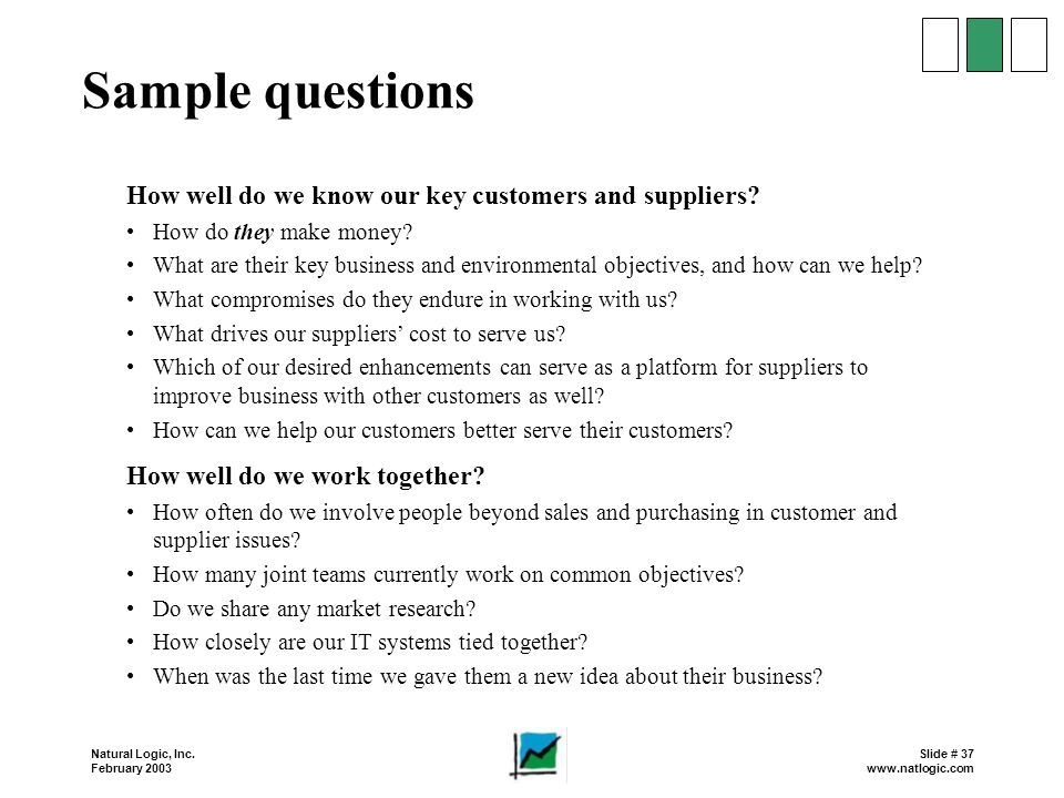Sample questions How well do we know our key customers and suppliers