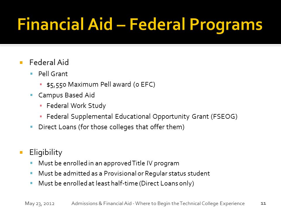 Financial Aid – Federal Programs