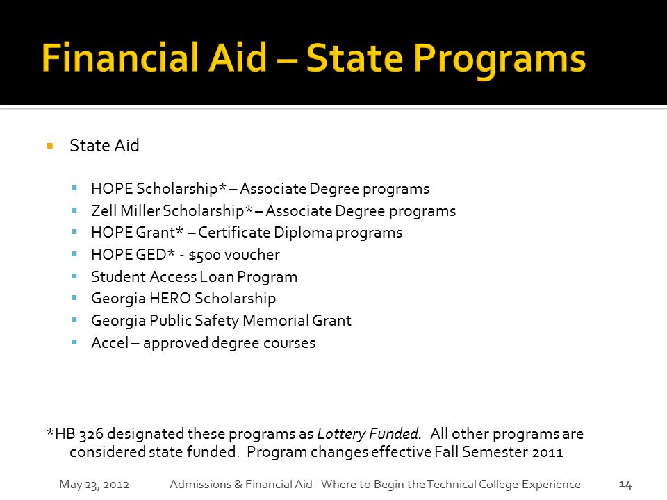 Financial Aid – State Programs