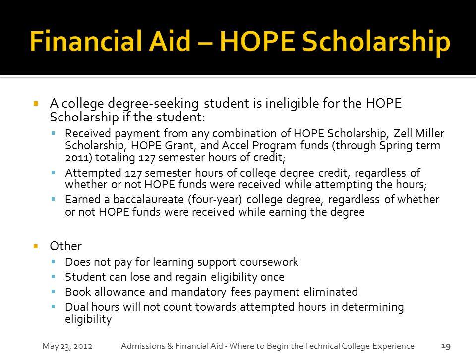 Financial Aid – HOPE Scholarship