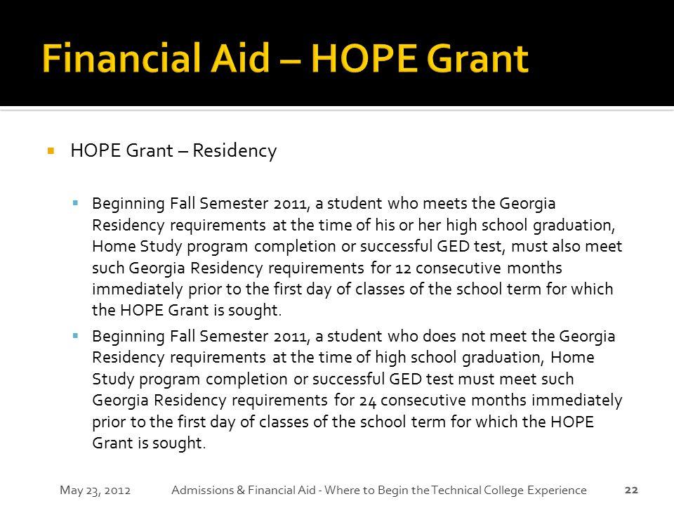 Financial Aid – HOPE Grant