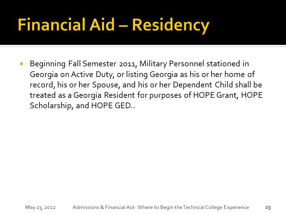 Financial Aid – Residency