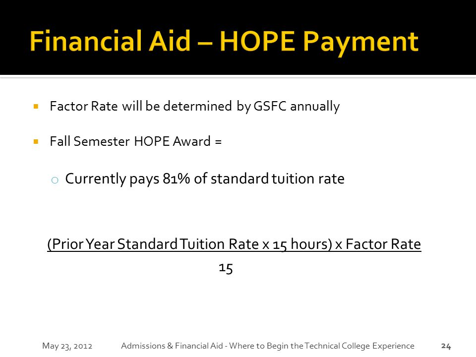 Financial Aid – HOPE Payment