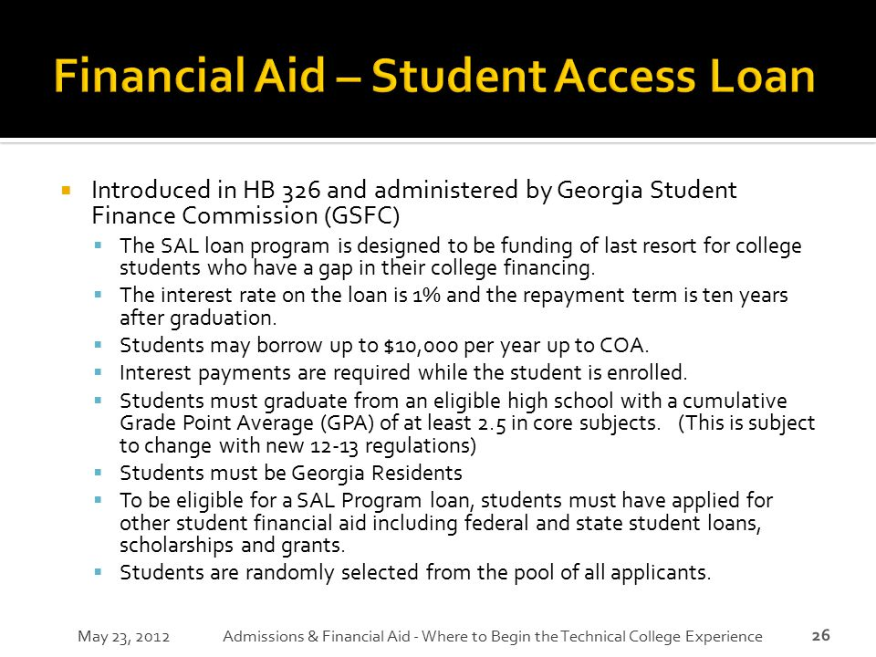 Financial Aid – Student Access Loan