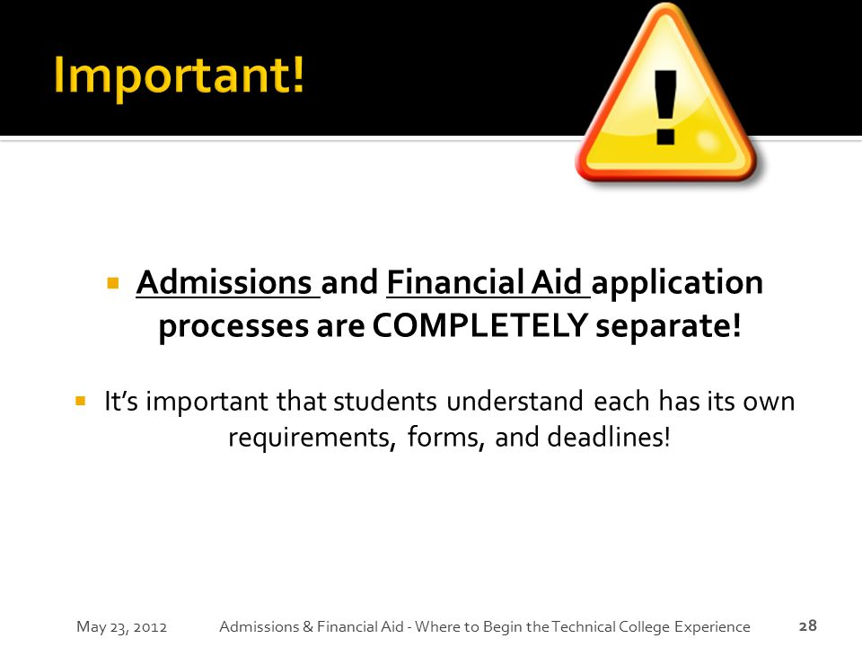 Important! Admissions and Financial Aid application processes are COMPLETELY separate!
