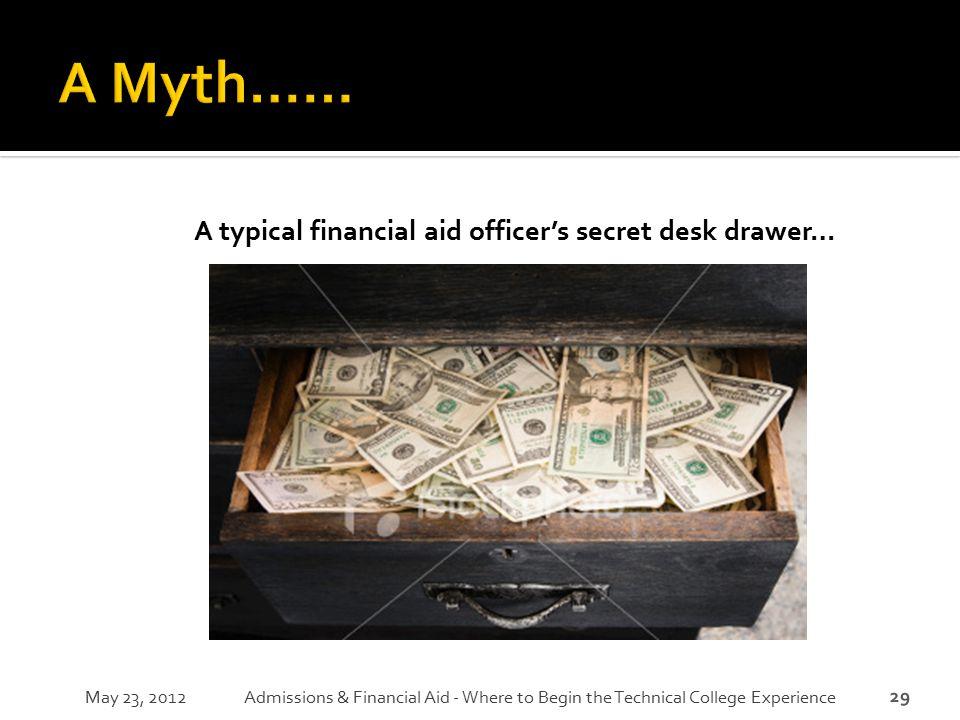 A typical financial aid officer's secret desk drawer…