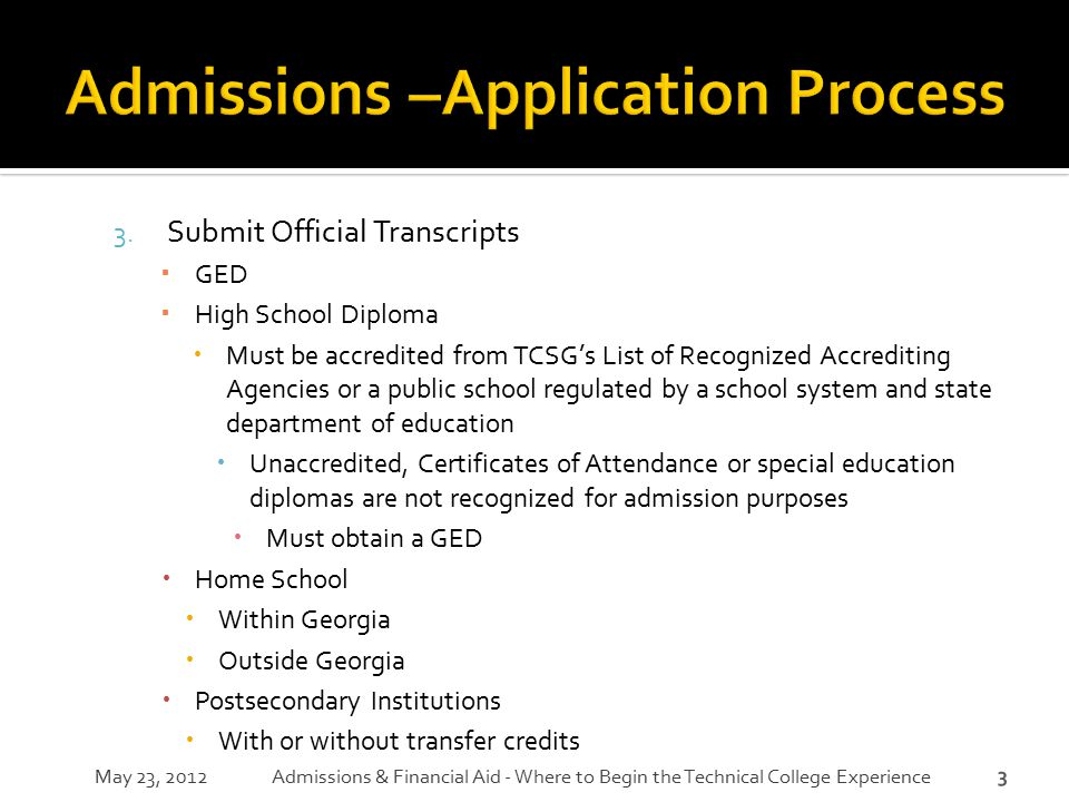Admissions –Application Process