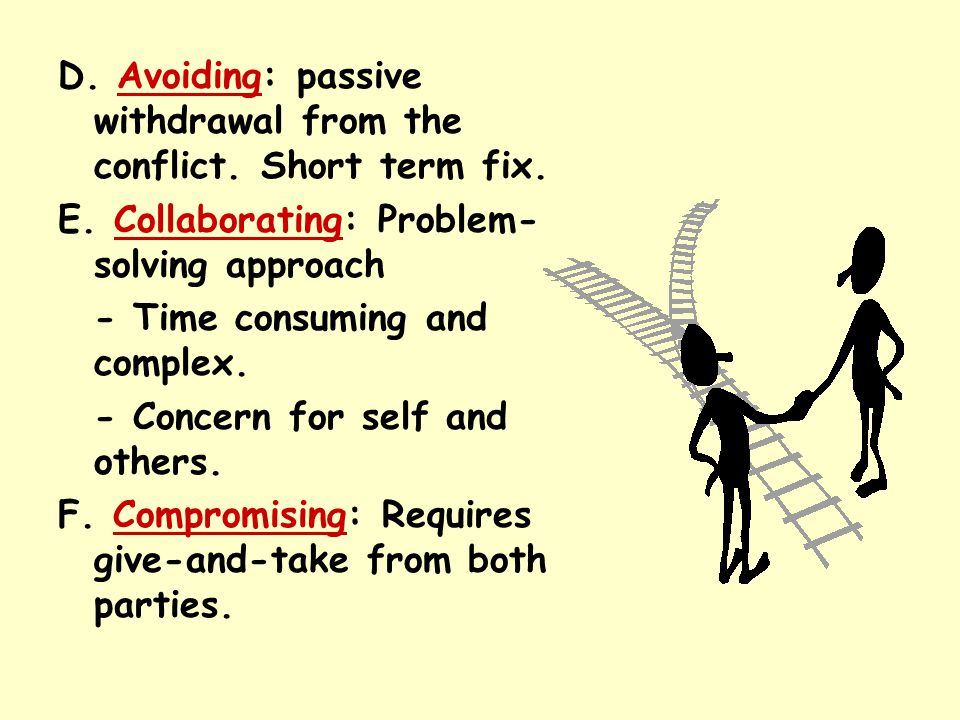 D. Avoiding: passive withdrawal from the conflict. Short term fix.