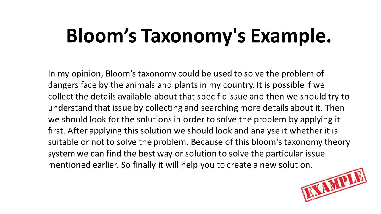 Bloom's Taxonomy s Example.