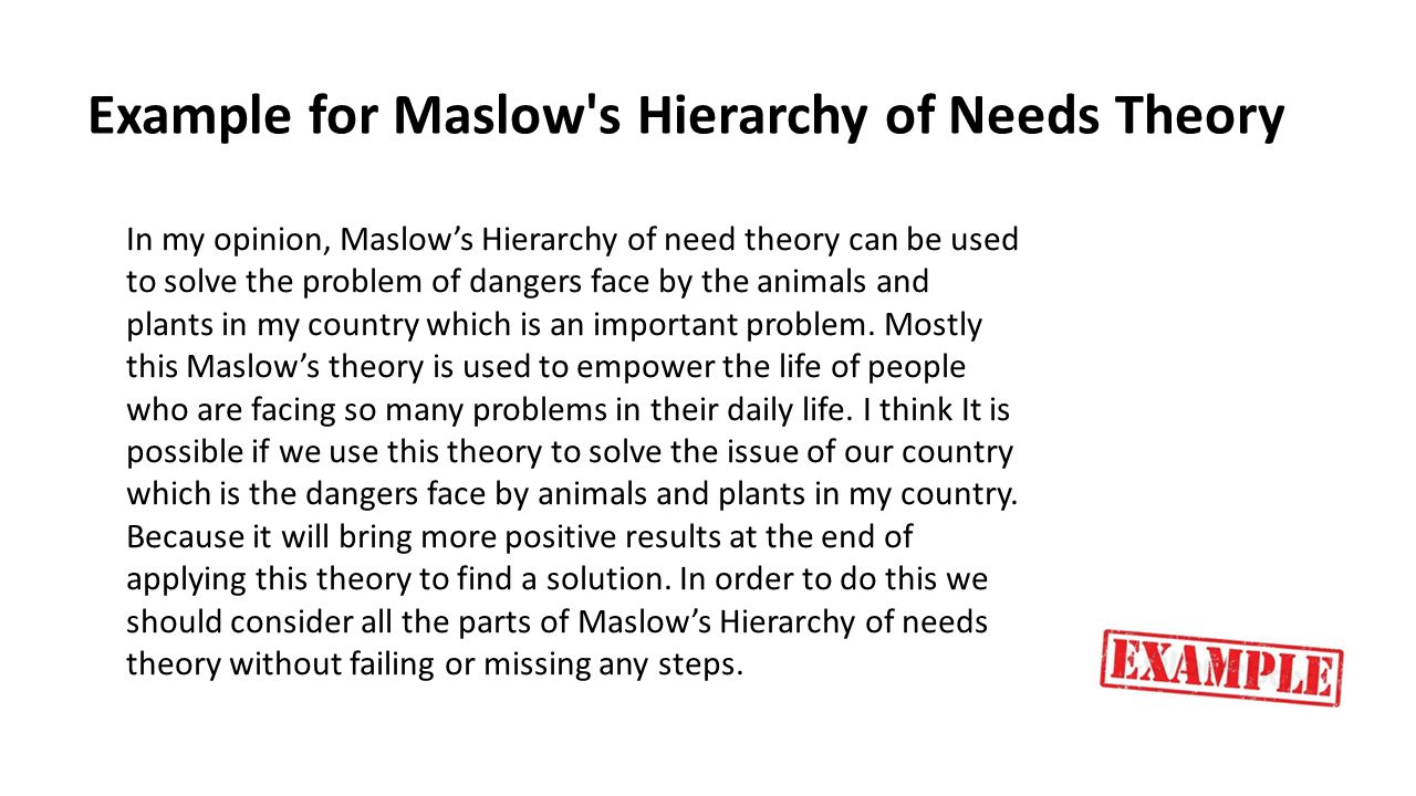 Example for Maslow s Hierarchy of Needs Theory
