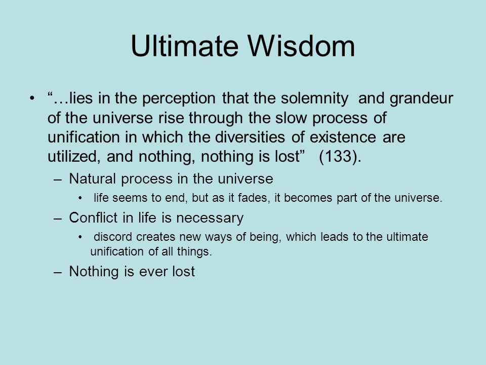 Ultimate Wisdom