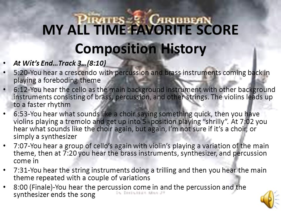 MY ALL TIME FAVORITE SCORE Composition History