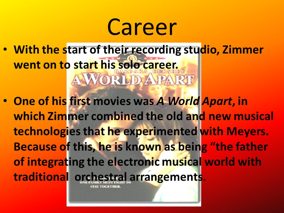 Career With the start of their recording studio, Zimmer went on to start his solo career.