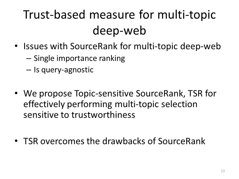 Trust-based measure for multi-topic deep-web
