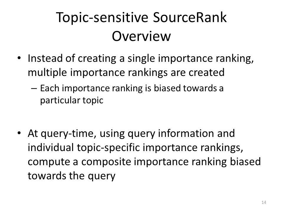 Topic-sensitive SourceRank Overview