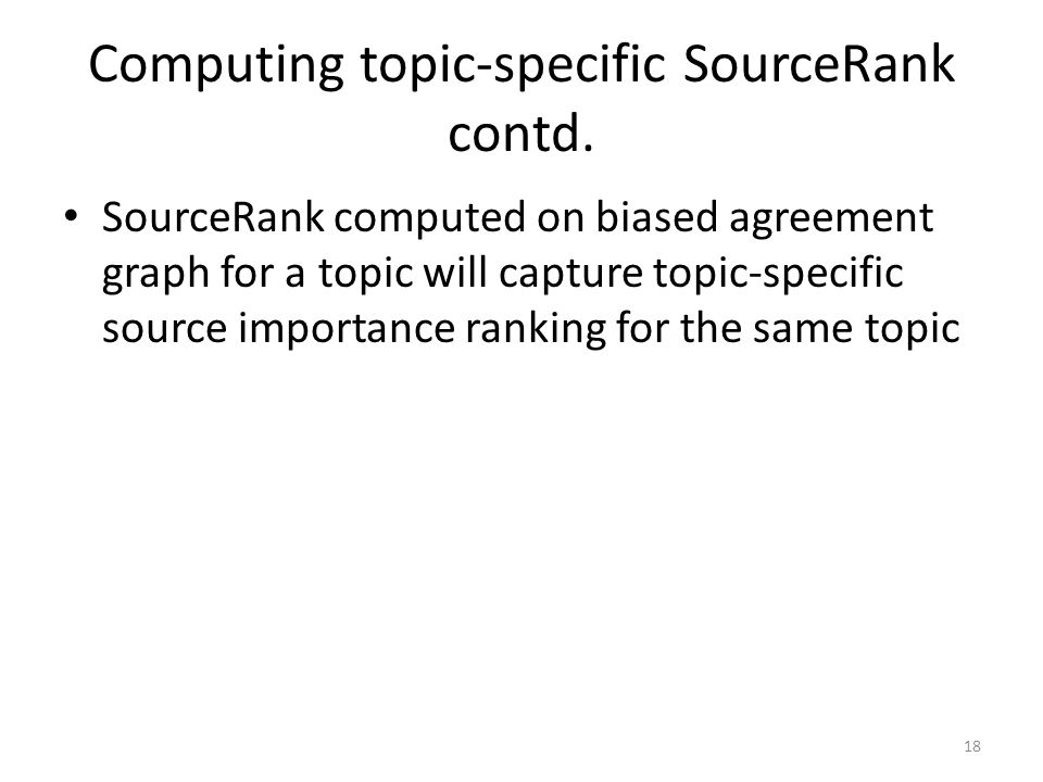 Computing topic-specific SourceRank contd.