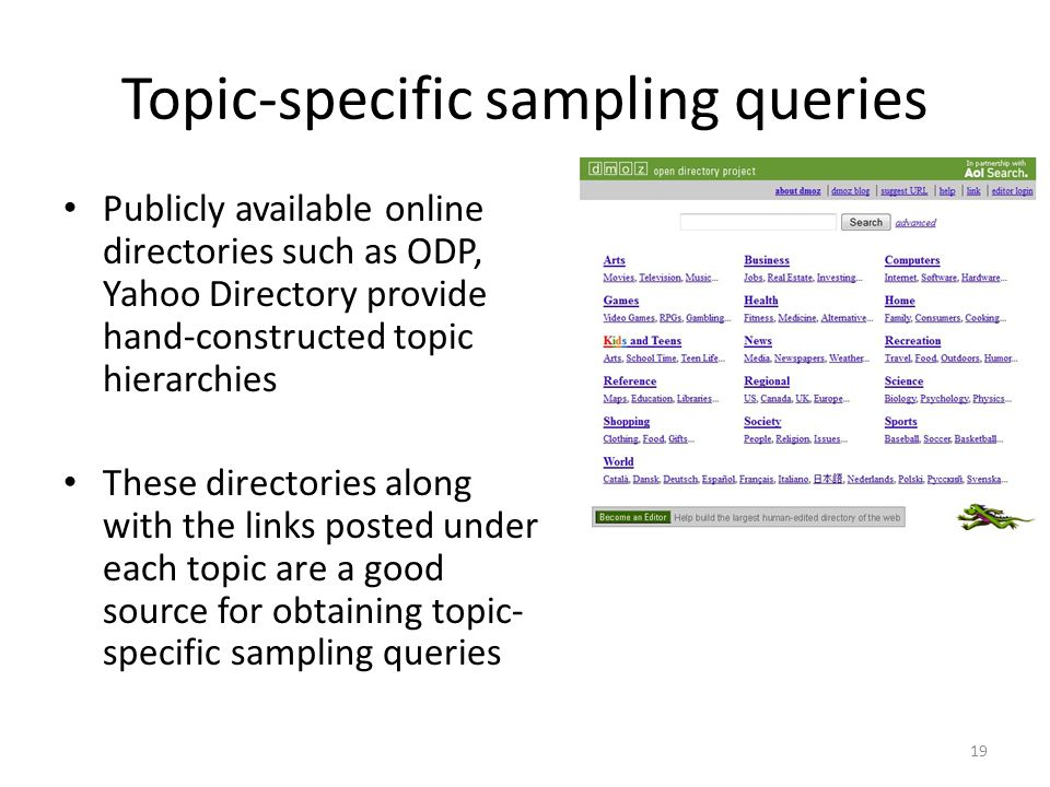 Topic-specific sampling queries