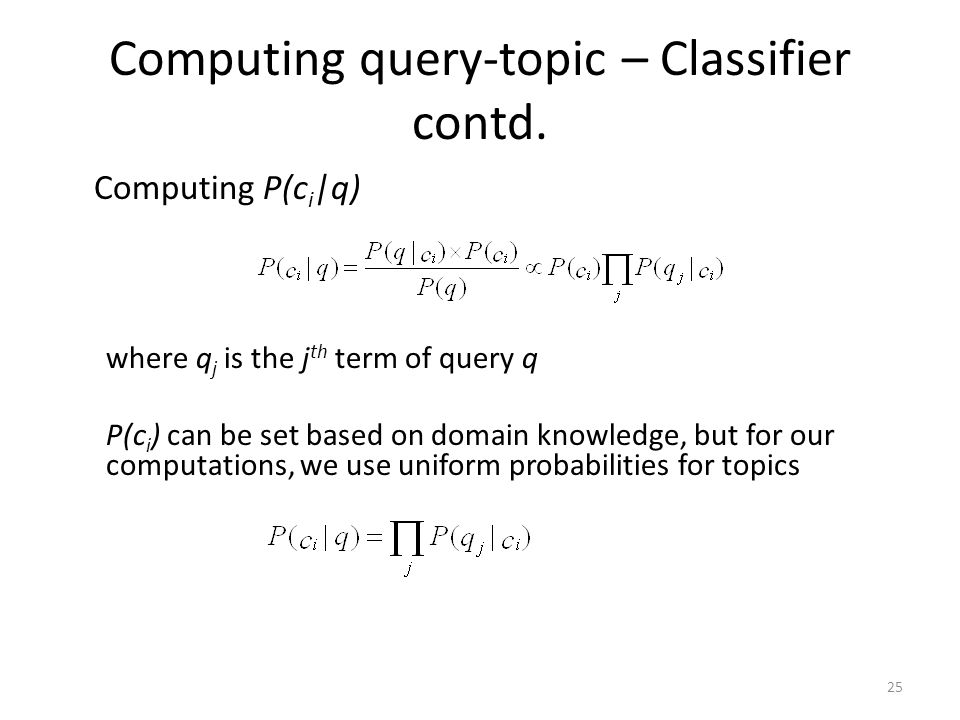 Computing query-topic – Classifier contd.