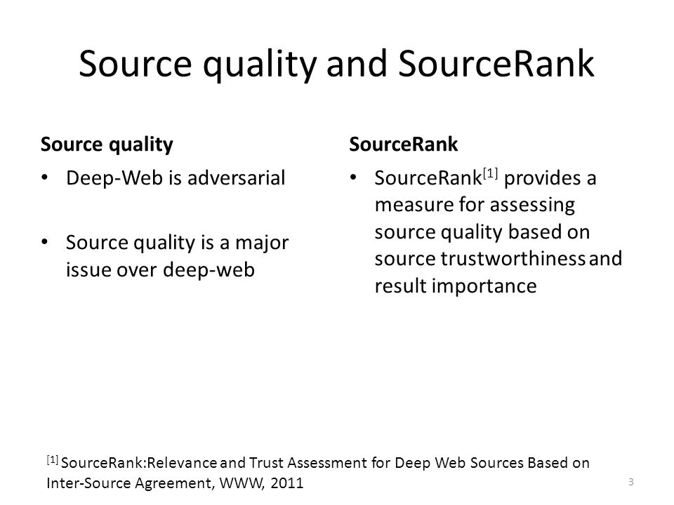 Source quality and SourceRank