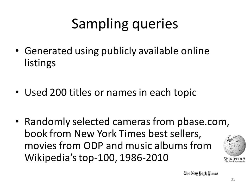 Sampling queries Generated using publicly available online listings