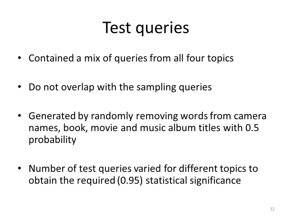 Test queries Contained a mix of queries from all four topics
