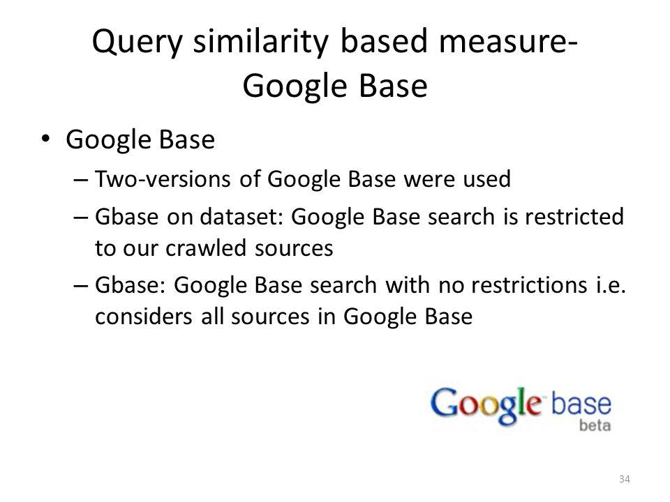 Query similarity based measure- Google Base