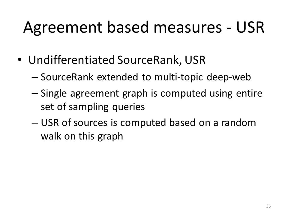 Agreement based measures - USR