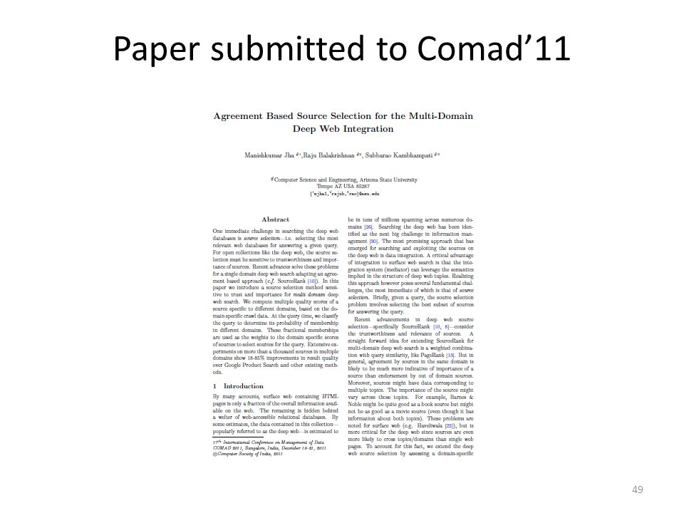 Paper submitted to Comad'11