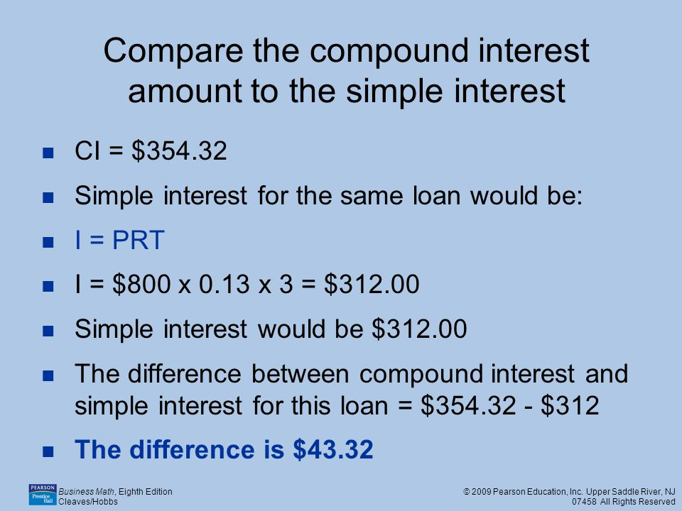 Compare the compound interest amount to the simple interest
