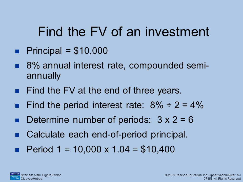 Find the FV of an investment