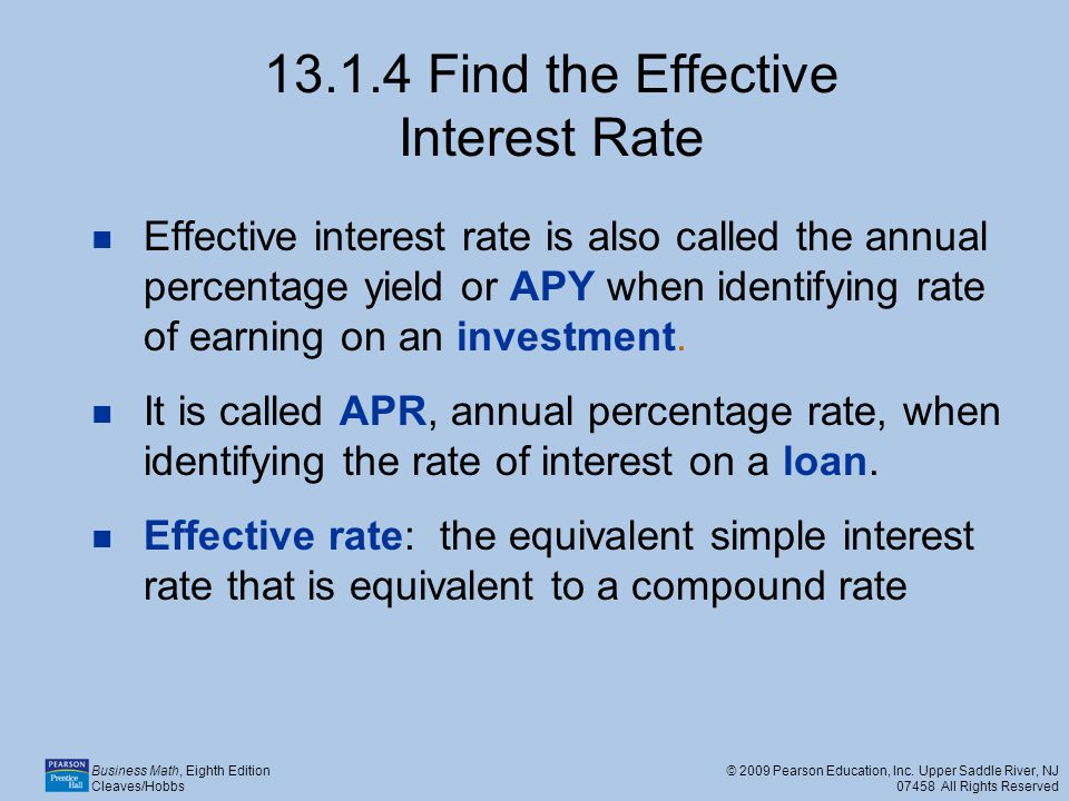 13.1.4 Find the Effective Interest Rate
