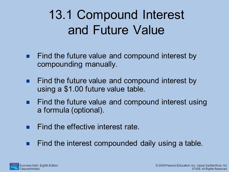 13.1 Compound Interest and Future Value