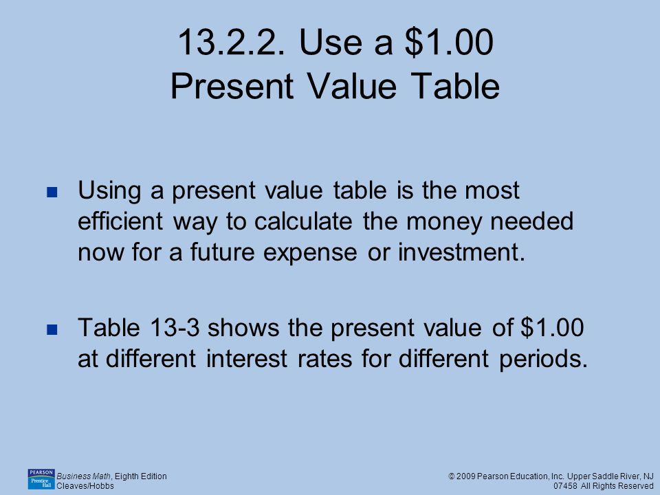 13.2.2. Use a $1.00 Present Value Table