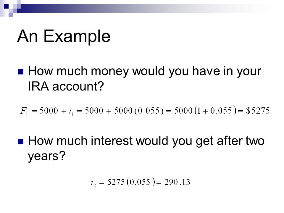 An Example How much money would you have in your IRA account