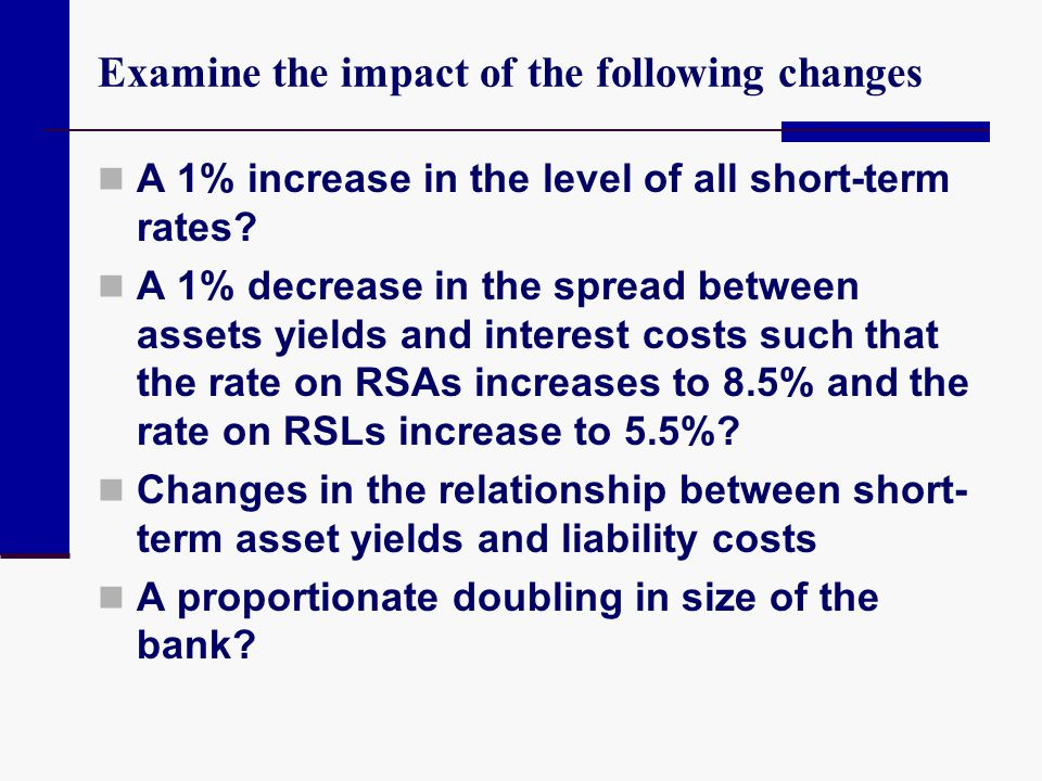 Examine the impact of the following changes