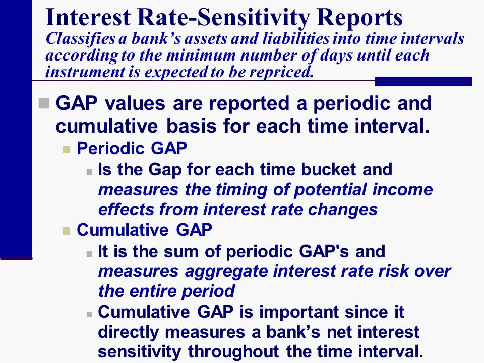 Interest Rate-Sensitivity Reports Classifies a bank's assets and liabilities into time intervals according to the minimum number of days until each instrument is expected to be repriced.