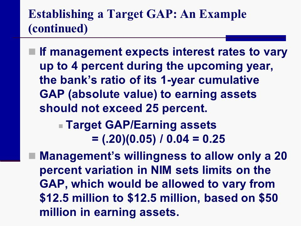 Establishing a Target GAP: An Example (continued)