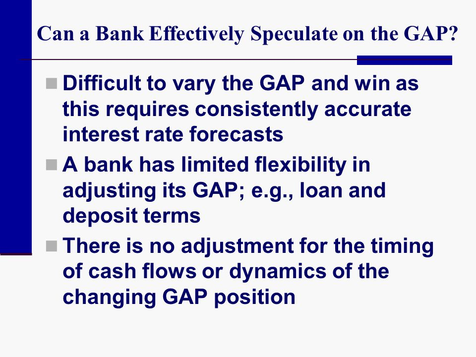 Can a Bank Effectively Speculate on the GAP