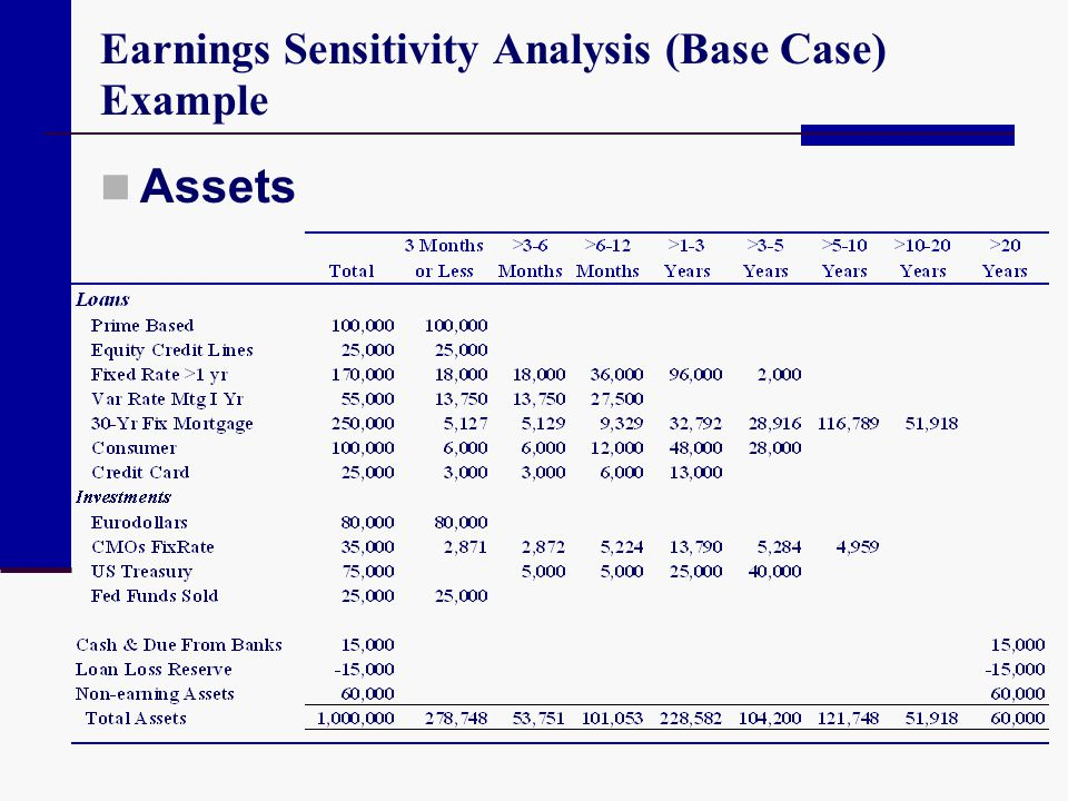 Earnings Sensitivity Analysis (Base Case) Example