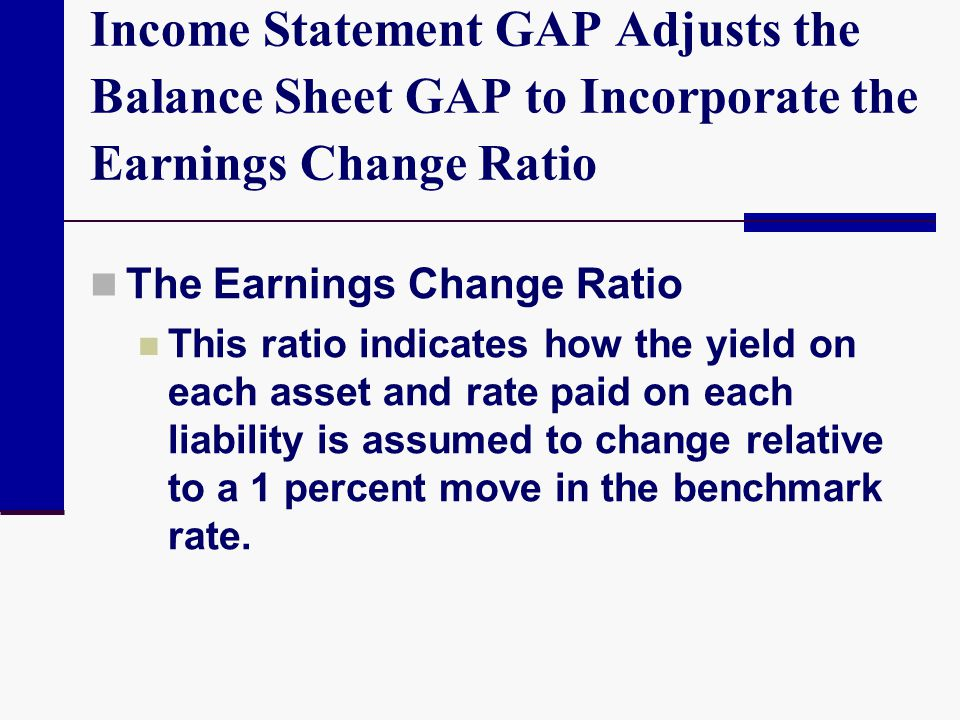 Income Statement GAP Adjusts the Balance Sheet GAP to Incorporate the Earnings Change Ratio