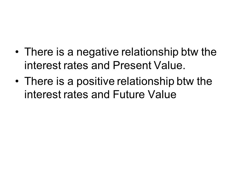 There is a negative relationship btw the interest rates and Present Value.