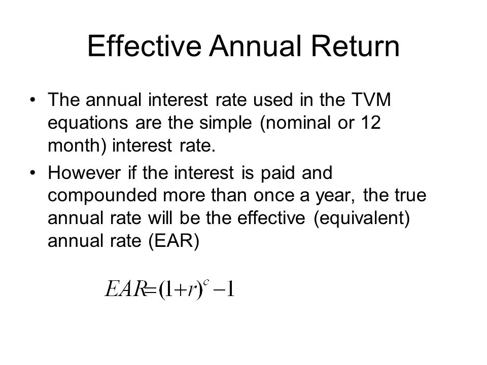 Effective Annual Return