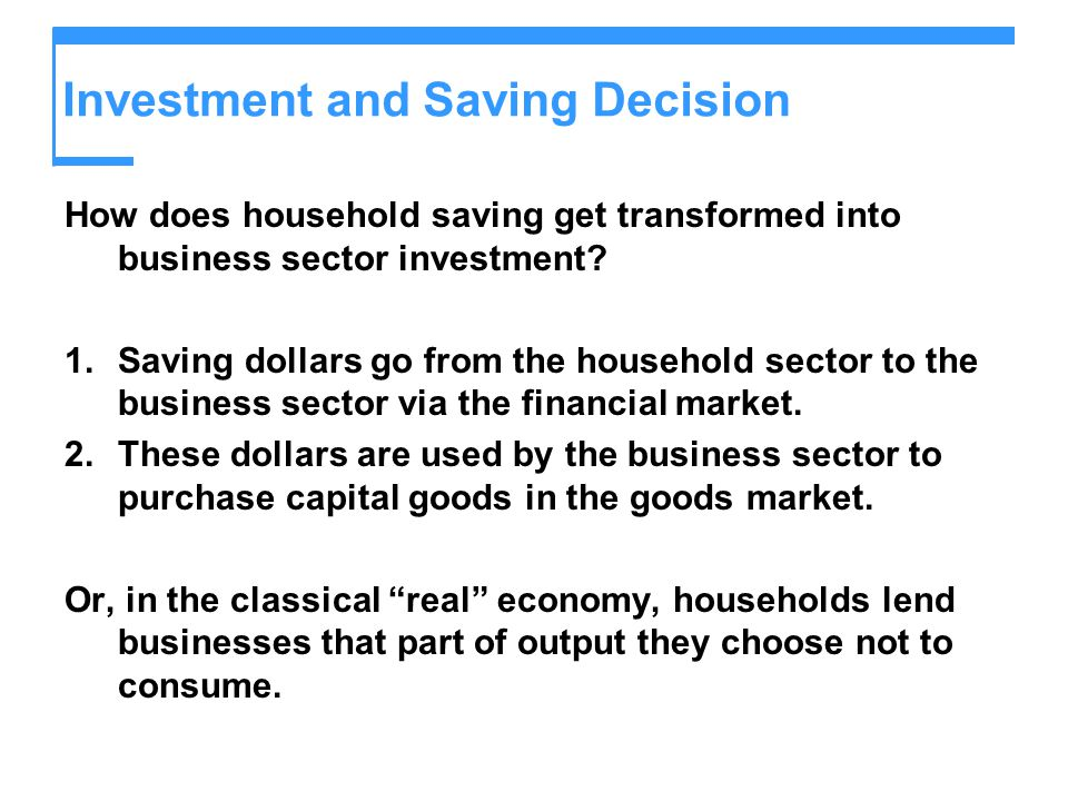 Investment and Saving Decision