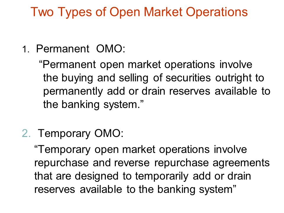Two Types of Open Market Operations