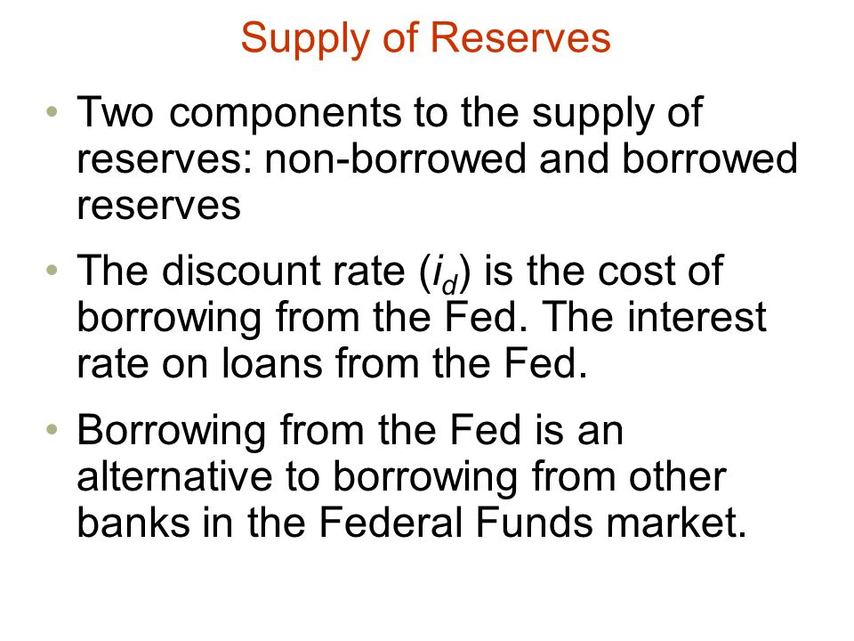 Supply of Reserves Two components to the supply of reserves: non-borrowed and borrowed reserves.