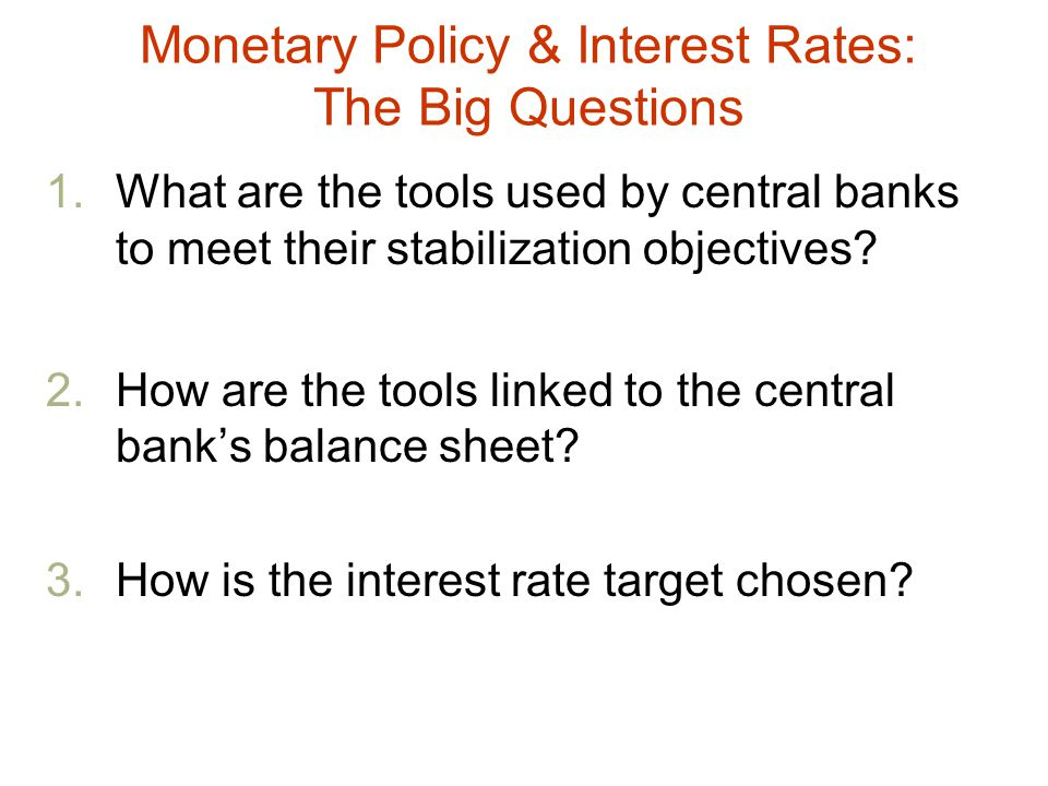Monetary Policy & Interest Rates: The Big Questions